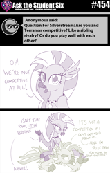 Size: 800x1258 | Tagged: safe, artist:sintakhra, silverstream, terramar, classical hippogriff, hippogriff, tumblr:studentsix, 2 panel comic, ask, brother and sister, comic, female, jewelry, looking at each other, looking at you, male, necklace, siblings, sitting, sitting on person, stair keychain, terramar is not amused, unamused