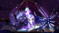 Size: 1708x965 | Tagged: safe, artist:bunnari, oc, oc only, oc:astral tone, oc:spectra nocturna, pony, unicorn, book, female, filly, magical lesbian spawn, offspring, parent:nightmare moon, parent:twilight sparkle, parents:twimoon