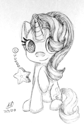 Size: 796x1200 | Tagged: safe, artist:patternpearl, starlight glimmer, pony, unicorn, starlight the hypnotist, spoiler:interseason shorts, female, glowing horn, horn, looking at you, magic, monochrome, pendulum swing, smiling, solo, telekinesis, traditional art