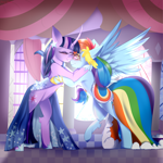 Size: 2500x2500 | Tagged: safe, artist:tayblossom, rainbow dash, twilight sparkle, pegasus, unicorn, clothes, curved horn, dress, female, gala dress, horn, lesbian, shipping, twidash, unicorn twilight