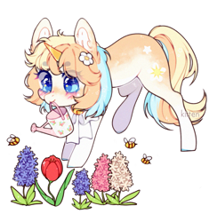 Size: 1129x1159 | Tagged: safe, artist:kitten-in-the-jar, oc, oc:soleil, bee, insect, unicorn, female, flower, mare, mouth hold, simple background, solo, transparent background, watering can