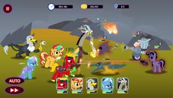 Size: 4096x2320 | Tagged: safe, artist:shadymeadow, discord, sunset shimmer, trixie, oc, oc:grant, oc:jikan, oc:wheatley airborne, griffon, pony, robot, magic, rubber duck