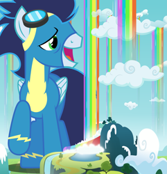 Size: 2481x2577 | Tagged: safe, artist:dashiesparkle, artist:gwennie-chan, edit, vector edit, soarin', pegasus, pony, clothes, cloud, giant pegasus, giant pony, giant wonderbolts pony, goggles, macro, male, mega giant, mega/giant soarin', rainbow waterfall, raised hoof, solo, stallion, uniform, vector, winsome falls, wonderbolts uniform