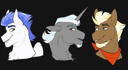 Size: 3654x2000 | Tagged: safe, artist:jeshh, oc, oc only, oc:polished lance, oc:stoutheart, oc:swift wing, pegasus, pony, unicorn, black background, bust, male, portrait, simple background, stallion