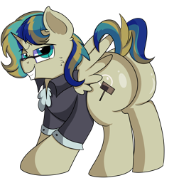 Size: 4800x4900 | Tagged: safe, artist:rainbowtashie, carrot top, derpy hooves, golden harvest, mayor mare, minuette, oc, oc:queen fresh care, alicorn, pony, alicorn oc, butt, clothes, commissioner:bigonionbean, cutie mark, extra thicc, flank, fusion, fusion:queen fresh care, glasses, horn, male, plot, rule 63, simple background, stallion, thicc ass, transparent background, wings, writer:bigonionbean