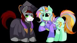 Size: 1280x717 | Tagged: safe, artist:rainbowtashie, cheerilee, ms. harshwhinny, spitfire, trixie, oc, oc:khaki-cap, oc:princess sincere scholar, alicorn, pony, alicorn oc, alicorn princess, clothes, commissioner:bigonionbean, cutie mark, dress, female, fusion, fusion:princess sincere scholar, gown, graduation cap, hat, horn, male, mare, stallion, wings, writer:bigonionbean