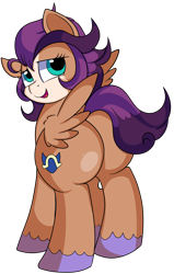 Size: 3050x4800 | Tagged: safe, artist:rainbowtashie, flash sentry, trouble shoes, oc, oc:fast hooves, clydesdale, earth pony, pegasus, pony, adorable face, butt, commissioner:bigonionbean, cute, cutie mark, embarrassed, extra thicc, female, flank, fusion, fusion:fast hooves, mare, plot, rule 63, simple background, thicc ass, transparent background, writer:bigonionbean