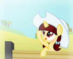 Size: 1042x842   Tagged: safe, artist:darbypop1, oc, oc:aria, pony, unicorn, female, filly, hat, solo