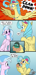 Size: 1000x2088 | Tagged: safe, artist:omny87, princess skystar, silverstream, hippogriff, my little pony: the movie, breasts, calm down, calm your tits, clam, clam down, comic, confused, cousins, crying, dead, female, googly eyes, helmet, misunderstanding, press f to pay respects, pun, x eyes, yelling