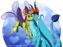 Size: 1904x1436 | Tagged: safe, artist:inuhoshi-to-darkpen, princess ember, thorax, changedling, changeling, dragon, blushing, changeling x dragon, cute, digital art, dragon lord ember, dragoness, emberbetes, embrax, exoskeleton, eyes closed, female, interspecies, king thorax, lidded eyes, male, nuzzling, older ember, shipping, simple background, smiling, straight, thorabetes, transparent background