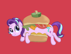 Size: 4032x3024 | Tagged: safe, artist:background basset, derpibooru exclusive, starlight glimmer, unicorn, borgarposting, burger, food, long glimmer, long pony, ponies in food, simple background, solo
