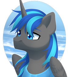 Size: 1326x1500 | Tagged: safe, artist:nika-rain, oc, oc only, alicorn, pony, alicorn oc, bust, commission, cute, horn, male, portrait, simple background, solo, wings