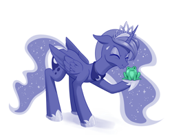 Size: 1280x1009 | Tagged: safe, artist:dstears, color edit, edit, princess luna, alicorn, frog, pony, colored, crossover, crown, cute, digital art, eyes closed, female, floppy ears, jewelry, kissing, lunabetes, mare, newbie artist training grounds, puckered lips, regalia, simple background, sweat, sweatdrop, the princess and the frog