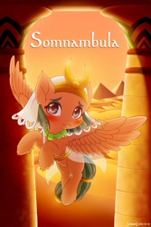 Size: 1280x1920 | Tagged: safe, artist:symbianl, somnambula, pegasus, :p, archway, blushing, cute, egyptian, egyptian pony, female, filly, filly somnambula, flying, hoof fluff, pyramid, solo, somnambetes, tongue out