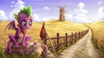 Size: 4098x2304 | Tagged: safe, artist:rysunkowasucharia, spike, dragon, mouse, rat, bindle, cloud, fence, field, flower, food, high res, male, path, rock, scenery, sitting, sky, solo, sweet, windmill, winged spike