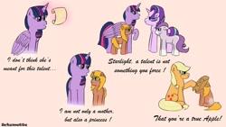 Size: 1280x720 | Tagged: safe, artist:schumette14, applejack, starlight glimmer, twilight sparkle, oc, oc:lustre elstar, alicorn, pony, cutie mark, female, lesbian, magical lesbian spawn, next generation, offspring, parent:applejack, parent:twilight sparkle, parents:twijack, shipping, twijack, twilight sparkle (alicorn)