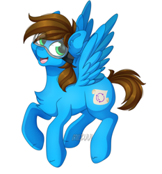 Size: 1606x1726 | Tagged: safe, artist:miizuui, oc, oc only, oc:blue scroll, pegasus, pony, flying, happy, male, safety goggles