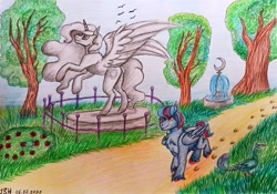 Size: 1078x756 | Tagged: artist needed, safe, princess celestia, oc, oc:hellfire, alicorn, bird, peacock, pegasus, pony, blue fur, canterlot, fountain, garden, male, red eyes, stallion, statue, traditional art, tree, walking