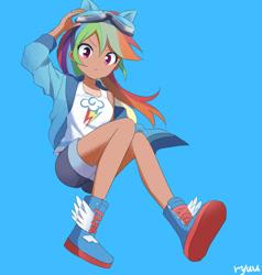 Size: 1900x2000 | Tagged: safe, artist:ryuu, color edit, edit, editor:michaelsety, kotobukiya, rainbow dash, human, anime, ass, butt, clothes, colored, female, human coloration, humanized, kotobukiya rainbow dash, solo