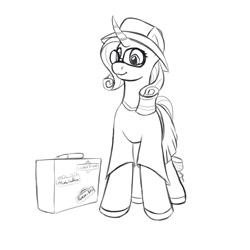 Size: 2000x2000 | Tagged: safe, artist:redquoz, rarity, unicorn, bumper sticker, clothes, curls, dress, dressup, female, hat, looking offscreen, mare, solo, suitcase, sunglasses, travelling