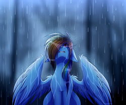Size: 3000x2500 | Tagged: safe, artist:spirit-fire360, rainbow dash, pegasus, digital art, hair over one eye, looking up, open mouth, rain, sad, wet, wet mane