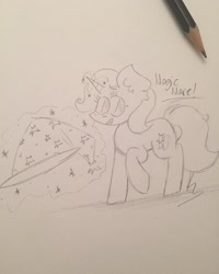 Size: 1080x1350   Tagged: safe, artist:kaix09, trixie, pony, unicorn, glowing horn, hat, horn, irl, lineart, magic, pencil, photo, raised hoof, signature, smiling, solo, talking, telekinesis, traditional art