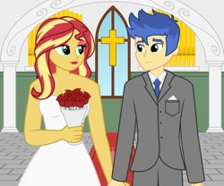 Size: 1280x1067 | Tagged: safe, artist:snap1994, flash sentry, sunset shimmer, equestria girls, church, cross, female, flashimmer, male, marriage, shipping, straight, wedding