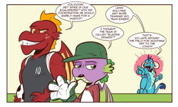 Size: 1379x829 | Tagged: safe, artist:saturdaymorningproj, garble, princess ember, spike, dragon, angry, clothes, dragoness, female, football, hat, mascot, speech bubble, sports, winged spike