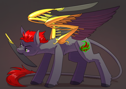 Size: 3508x2480 | Tagged: safe, artist:underpable, oc, oc only, oc:tan-dreamstiller, pony, artificial wings, augmented, high res, mechanical wing, mouth hold, solo, wings
