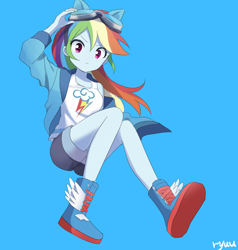 Size: 1900x2000 | Tagged: safe, artist:ryuu, rainbow dash, equestria girls, anime, anime style, blue background, clothes, cute, dashabetes, female, goggles, looking at you, shorts, simple background, solo
