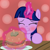 Size: 1235x1234 | Tagged: safe, artist:badumsquish, derpibooru exclusive, twilight sparkle, alicorn, pony, derpibooru, abstract background, blushing, borgarposting, burger, eating, eyes closed, female, food, happy, looking up, magic, meat, meta, plate, ponies eating meat, show accurate, solo, telekinesis, that pony sure does love burgers, twilight burgkle, twilight sparkle (alicorn)