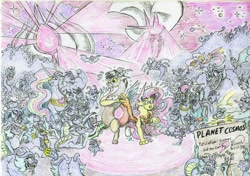 Size: 1024x722 | Tagged: safe, artist:grimmyweirdy, cosmos (character), discord, fluttershy, gentle breeze, posey shy, bat, bear, draconequus, dragon, comic:cosmic cosmos, body horror, cosmageddon, cosmic horror, draconequified, eldritch abomination, eldritch horror, flutterequus, horde, monster, multeity, nervous, sign, size difference, species swap, spotlight, surrounded, this train has no brakes, transformation