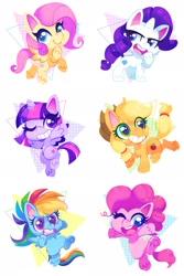 Size: 1365x2048 | Tagged: safe, artist:sharmie, applejack, fluttershy, pinkie pie, rainbow dash, rarity, twilight sparkle, alicorn, earth pony, pegasus, pony, unicorn, my little pony: pony life, cute, female, mane six, mare, one eye closed, open mouth, smiling, twilight sparkle (alicorn), wink