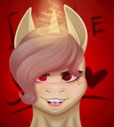 Size: 1080x1204 | Tagged: safe, artist:ash_helz, oc, oc only, pony, unicorn, bust, glowing horn, horn, open mouth, red eyes, smiling, solo, unicorn oc