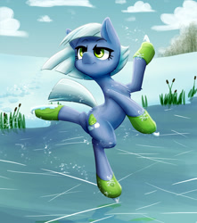 Size: 1343x1521 | Tagged: safe, artist:ikarooz, limestone pie, earth pony, pony, bipedal, chest fluff, female, ice skating, lime, mare, skating, snow, solo, winter