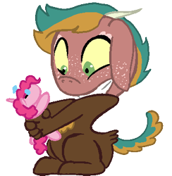 Size: 378x387 | Tagged: safe, artist:loutro, pinkie pie, oc, hybrid, base used, doll, freckles, interspecies offspring, magical gay spawn, male, offspring, parent:big macintosh, parent:discord, parents:discomac, simple background, solo, toy, transparent background