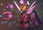 Size: 3508x2480   Tagged: safe, artist:underpable, twilight sparkle, alicorn, :p, armor, blush sticker, blushing, clothes, cute, glowing horn, gray background, gun, halo (series), horn, laser, levitation, magic, pew pew, simple background, smiling, solo, spread wings, suit, telekinesis, tongue out, twiabetes, twilight sparkle (alicorn), weapon, wings