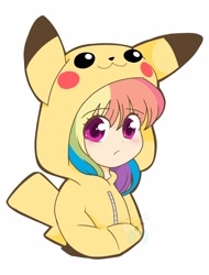 Size: 1600x2100 | Tagged: safe, artist:kittyrosie, rainbow dash, human, pikachu, bust, clothes, costume, crossover, cute, dashabetes, female, hands in pockets, hoodie, humanized, kigurumi, looking at you, pokémon, simple background, solo, white background