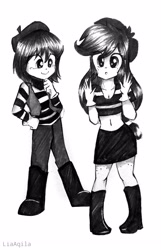 Size: 2262x3504 | Tagged: safe, artist:liaaqila, applejack, oc, oc:isabelle incraft, human, equestria girls, :o, belly button, beret, black and white, boots, breasts, cleavage, clothes, commission, duo, duo female, female, freckles, gloves, grayscale, hands up, hat, high res, hypnosis, hypnotized, leg freckles, link in description, midriff, mime, monochrome, open mouth, pants, performing, shirt, shoes, signature, simple background, skirt, smiling, story included, striped shirt, striped sweater, sweater, teary eyes, transformed, vest, wavy mouth, white background
