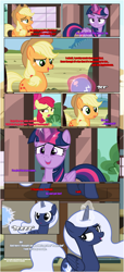 Size: 1919x4225 | Tagged: safe, artist:estories, apple bloom, applejack, twilight sparkle, oc, oc:holly, alicorn, earth pony, pony, comic:a(pple)ffection, alicorn oc, applejack's hat, comic, communication orb, cowboy hat, female, filly, floppy ears, hat, horn, magic, mare, show accurate, telekinesis, train station, twilight sparkle (alicorn), wings