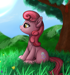 Size: 2340x2503 | Tagged: safe, artist:celsian, posey petals, pony, background pony, female, flower, mare, meadow, mountain, signature, sitting, solo, summer, tree