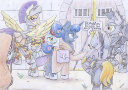 Size: 4600x3260 | Tagged: safe, artist:xeviousgreenii, princess luna, pony, absurd file size, adventurers, atg 2020, colored, dungeon, female, guardsmare, male, mare, newbie artist training grounds, night guard, royal guard, stallion, traditional art
