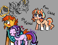 Size: 800x624   Tagged: safe, artist:cupcakebunny03, artist:reikoi, starlight glimmer, sunburst, oc, blaze (coat marking), blushing, bouquet, bouquet of flowers, clothes, coat markings, cute, exclamation point, facial markings, female, filly, flower, glasses, glimmerbetes, gray background, heart, magic, male, ocbetes, offspring, parent:starlight glimmer, parent:sunburst, parents:starburst, pigtails, robe, shipping, simple background, socks (coat markings), starburst, straight, sunbetes, sunburst's cloak, sunburst's glasses, telekinesis