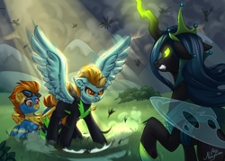 Size: 3500x2500 | Tagged: safe, artist:ariamidnighters, lightning dust, queen chrysalis, spitfire, changeling, changeling queen, pegasus, pony, the ending of the end, clothes, crown, female, glowing horn, goggles, gritted teeth, horn, jewelry, mare, protecting, regalia, spread wings, trio, ultimate chrysalis, uniform, washouts uniform, wings, wonderbolts uniform