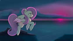Size: 5333x3000 | Tagged: safe, artist:exploretheweb, fluttershy, pegasus, pony, cloud, female, flying, mare, ocean, rock, sky, smiling, solo, sunset