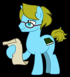 Size: 1262x1400 | Tagged: safe, artist:optimusv42, oc, oc only, oc:optimus, pony, unicorn, glasses, ponysona, scroll, simple background, solo, transparent background