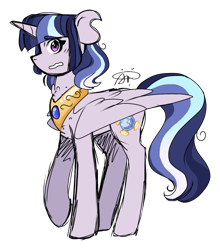 Size: 1024x1161 | Tagged: safe, artist:gallantserver, artist:thepegasisterpony, oc, oc:twilight sombra, alicorn, pony, alicorn oc, horn, jewelry, magical lesbian spawn, nervous, offspring, parent:radiant hope, parent:twilight sparkle, parents:radiantlight, regalia, solo, wings