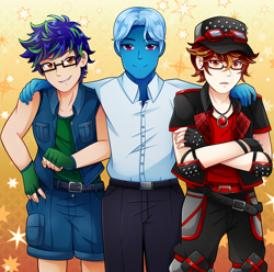 Size: 4152x4126 | Tagged: safe, artist:sho-tan-art, oc, oc:damien runner, oc:saphirus, human, blue hair, blue skin, cap, clothes, commission, fingerless gloves, glasses, gloves, goggles, group photo, hades, hat, highlights, humanized, humanized oc, jewelry, lore olympus, necklace, white hair