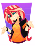 Size: 2442x3264 | Tagged: safe, artist:xan-gelx, sunset shimmer, equestria girls, equestria girls series, sunset's backstage pass!, spoiler:eqg series (season 2), clothes, female, high res, jacket, solo