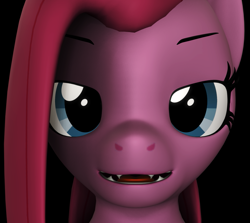 Size: 1213x1080 | Tagged: safe, artist:camtwosix, pinkie pie, anthro, plantigrade anthro, 3d, bust, creepy, cute, cute little fangs, fangs, lidded eyes, looking at you, open mouth, pinkamena diane pie, revamped anthros, source filmmaker